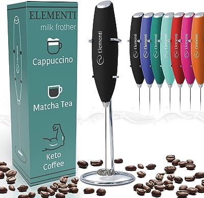 Elementi Milk Frother Handheld Electric Matcha Whisk (Black), Electric Milk Frother for Coffee Frother Electric Handheld Drink Mixer, Hand Frother Milk Foamer, Foam Maker for Coffee Stirrers