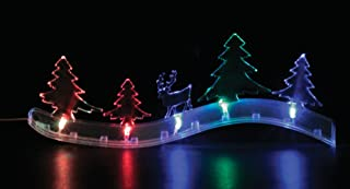 BANBERRY DESIGNS LED Christmas Decoration - Color Changing Winter Scene - Reindeer and Tree Winter Scene