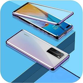 Aeong For Huawei P20 P30 P40 Honor Mate 20 30 30S Lite 9X X10 Nova 6 7 SE 5i Pro両面ガラスカバー用360メタル電話ケース-Purple-Honor 20 lite