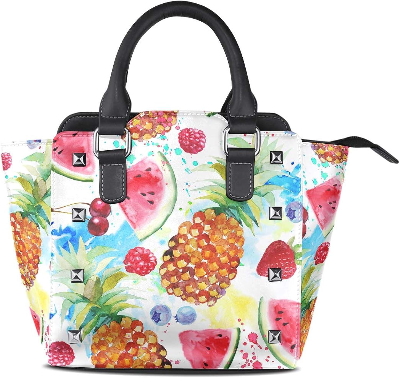 My Little Nest Women's Top Handle Satchel Handbag Watercolor Pineapples Ladies PU Leather Shoulder Bag Crossbody Bag