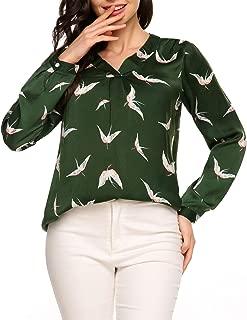 Zeagoo Women Chiffon Blouse V Neck Work Tops Casual Printed Short Sleeve Shirts