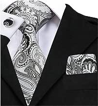 Barry.Wang Paisley Tie Set Hanky Cufflinks Neckties for Men Woven Silk Fashion