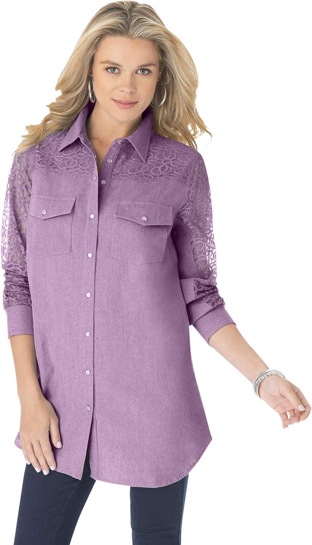 Roaman's Women's Plus Size Lace-Sleeve Denim Big Shirt Bigshirt