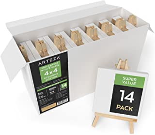 ARTEZA Mini Stretched 100% Cotton White Blank Canvas with Easel, 4x4 Inches, Primed Canvases for Painting, Acrylic Pouring, Oil Paint & Wet Art Media, Pack of 14