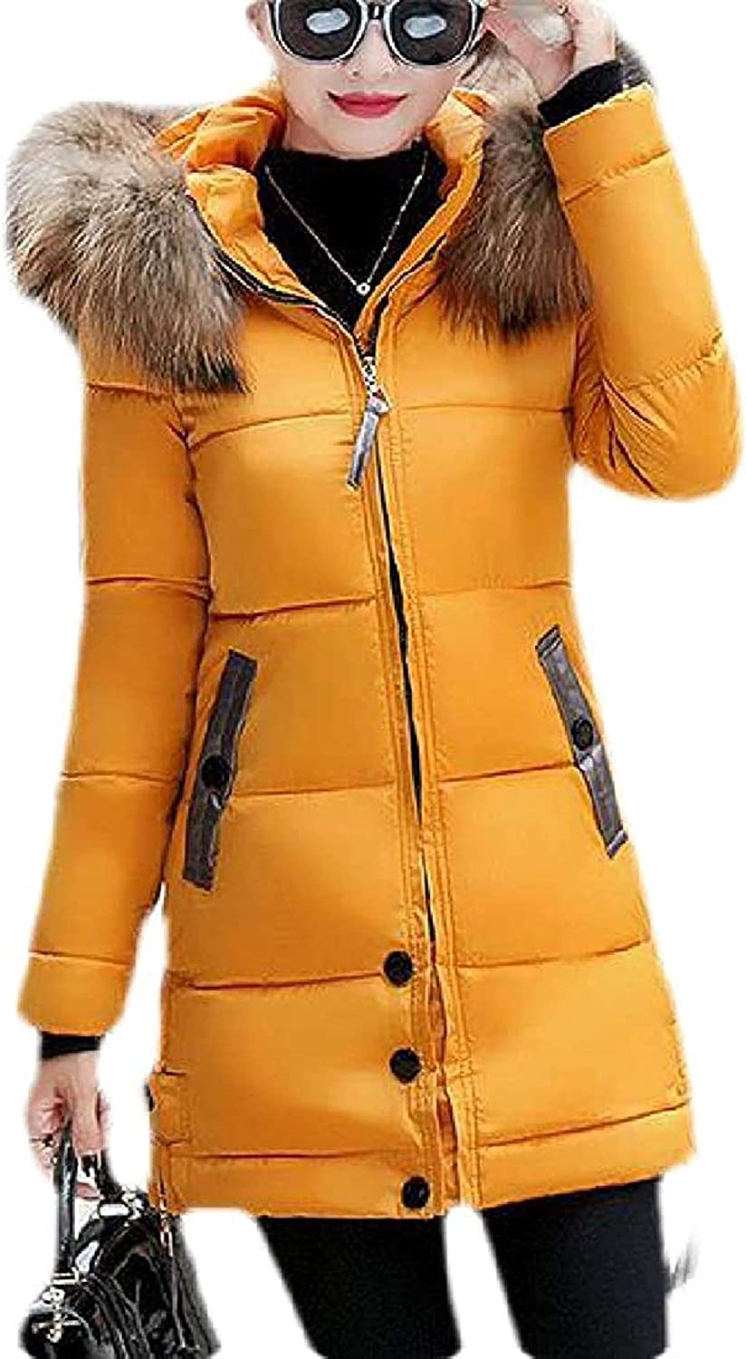 Women's Thicken Quilted Winter Fur Faux Collar Down Jacket Parka Coat