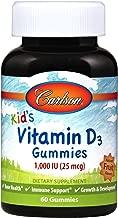 Carlson - Kid's Vitamin D3 Gummies, 1000 IU, Bone Health & Immune Support, Growth & Development, Fruit Flavored, 60 Gummies