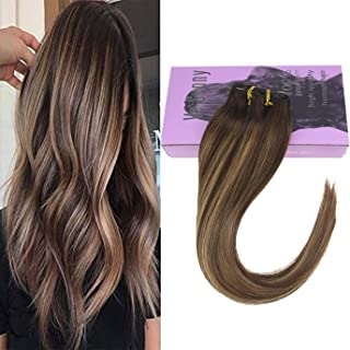 VeSunny Hair Extensions Balayage Brown Clip in Human Hair Full Head Dark Brown Fading to Caramel Blonde Highlights Double Weft Dip Dyed Clip Hair Extensions 18 Inch 7pcs/120g
