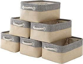 "pulnimus Fabric Storage Baskets 12""x 8"" x 5""Cloth Baskets,6 Pack Nursery Baskets,Small Storage Bins for Baby,Empty Gift Baskets with Rope Handles,Rectangular Basket,Decorative Closet Baskets"