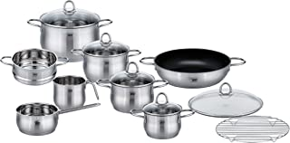 ELO Platin Stainless Steel Kitchen Induction Cookware Pots and Pans Set with Shock Resistant Glass Lids, Easy-Pour Rim and Integrated Measuring Scale, 10-Piece