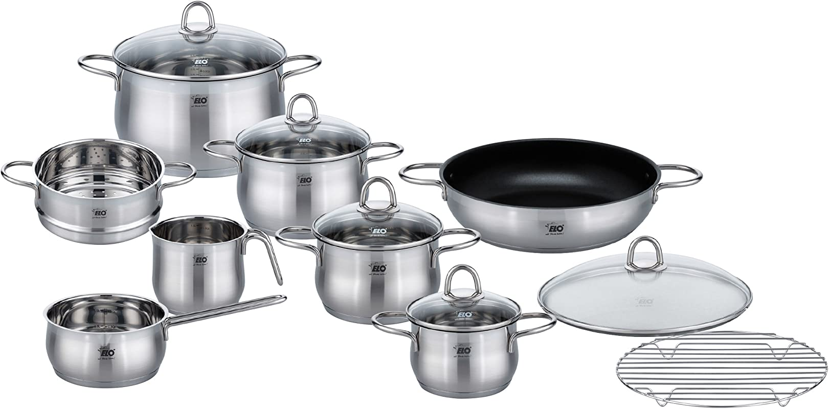 ELO Platin Stainless Steel Kitchen Induction Cookware Pots And Pans Set With Shock Resistant Glass Lids Easy Pour Rim And Integrated Measuring Scale 10 Piece