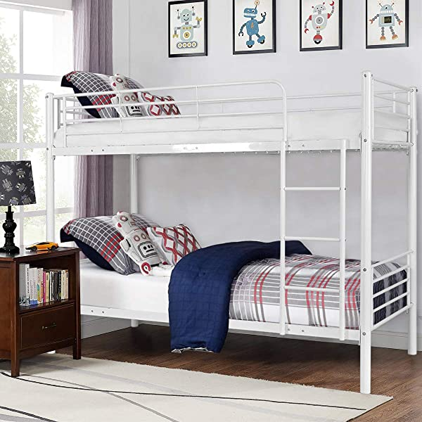 Costzon Twin Over Twin Loft Bed Metal Frame With Ladder Guard Rail For Boys Girls Teens Kids Bedroom Dorm Milky White