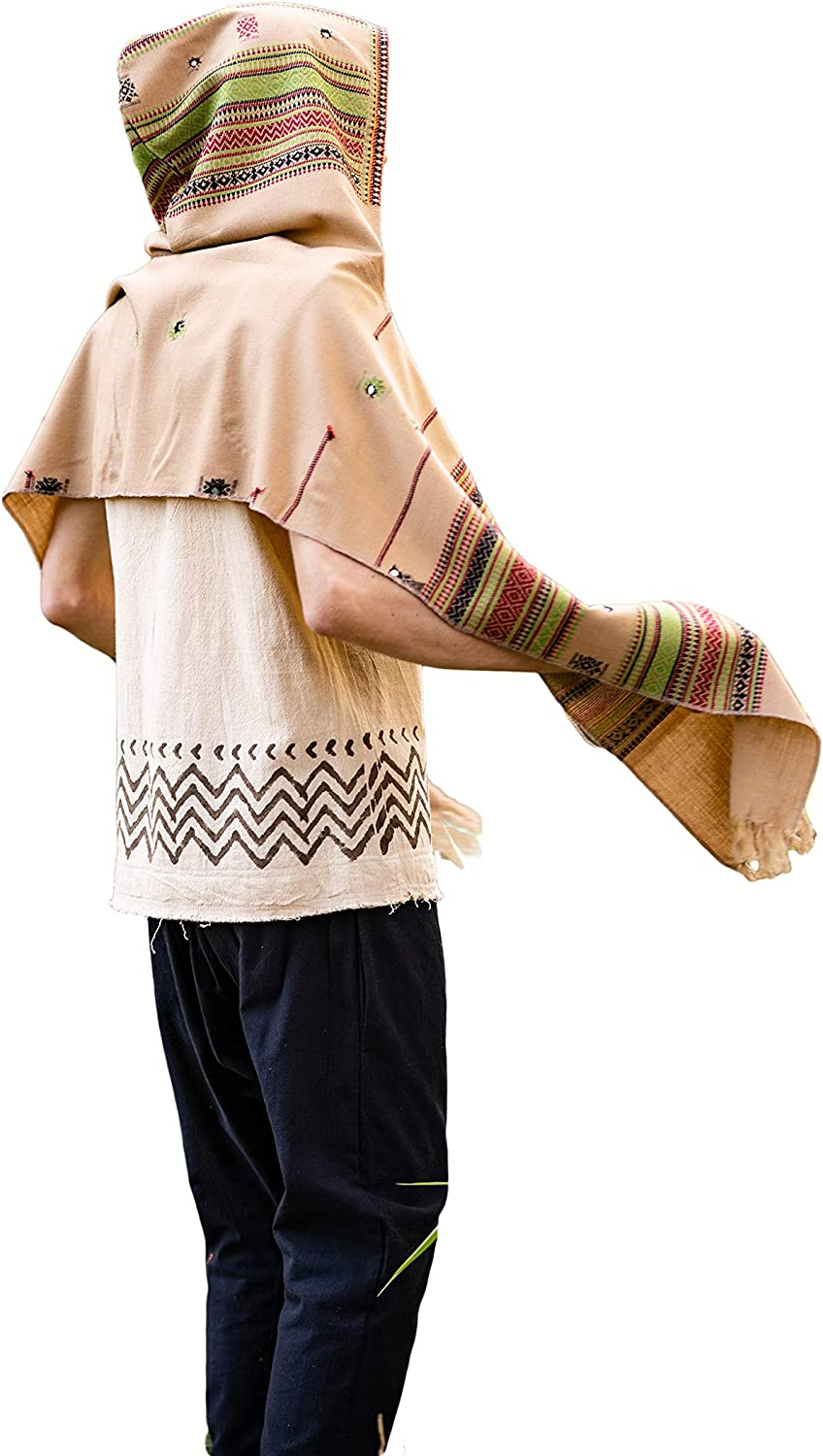 Brown Hooded Scarf with hood Embroidery Tribal Pattern Gypsy Jungle Nomadic Cashmere Festival Nomadic Primitive Earthy Rave AJJAYA Ethnic