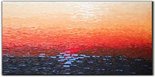 Yika Art Paintings,24x48 Inch Paintings 3D Hand-Painted On Canvas Acrylic Abstract Artwork Wall Decoration for Living Room Bedroom Hallway Office - Sea Level at Sunset