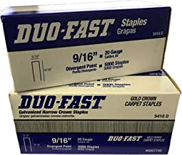 Duo-Fast 5418D 9/16-Inch by 20 Gauge 3/16 Crown Gold Staples (5,000 per Box) - Pack of 2 Boxes