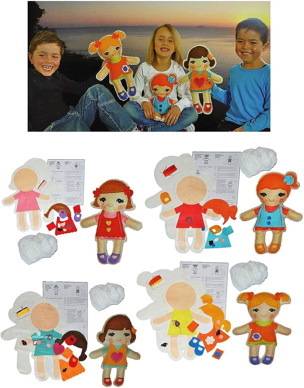 Unbekannt 4 STÜCK  Bastelset  Plüschtier - Filz Puppen Puppen Puppen   Schmusepuppe zum Nähen per Hand Komplett Set filzen - Filzset zum Basteln Handarbeiten mit Zubehör Puppen B00J6CUSNC | Realistisch  3b4898