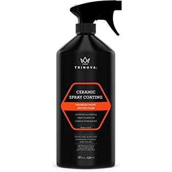 TriNova Ceramic Spray Coating - SiO2 Hydrophobic Hybrid Sealant for Car, Truck, Motorcycle - Ultimate Wax Substitute, Protection for Paint, Wheels, Glass & More 18 oz