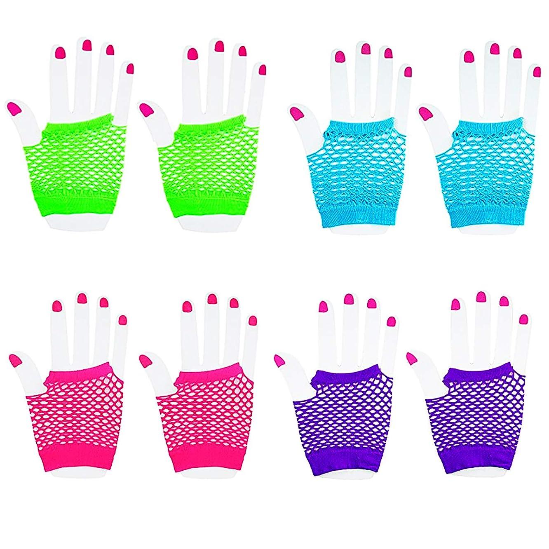 国リズムピクニックをする(Pack of 12 Pairs) - [Novelty Place] Fingerless Diva Fishnet Wrist Gloves Assorted Neon Colours (12 Pairs)