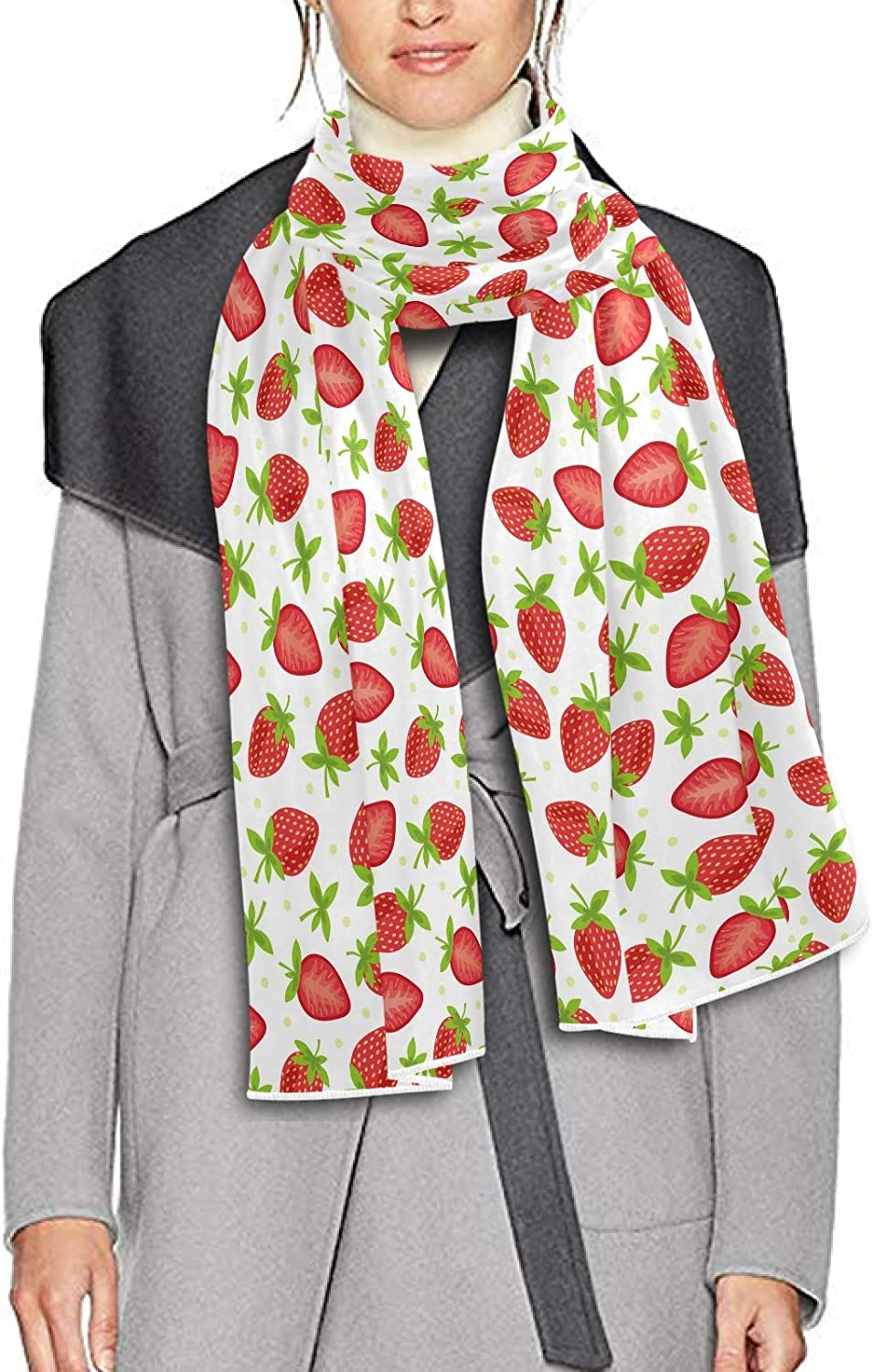 Scarf for Women and Men Red Fruits Strawberry Blanket Shawl Scarves Wraps Soft Thick Winter Large Scarves Lightweight