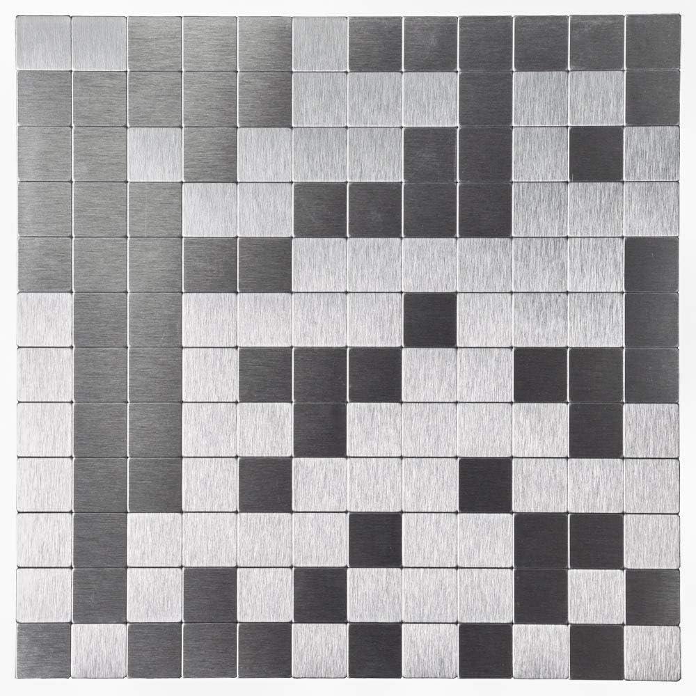 Silver Art3d 5-Piece Metal Backsplash Tile Peel and Stick Mosaics for Kitchen Backsplashes