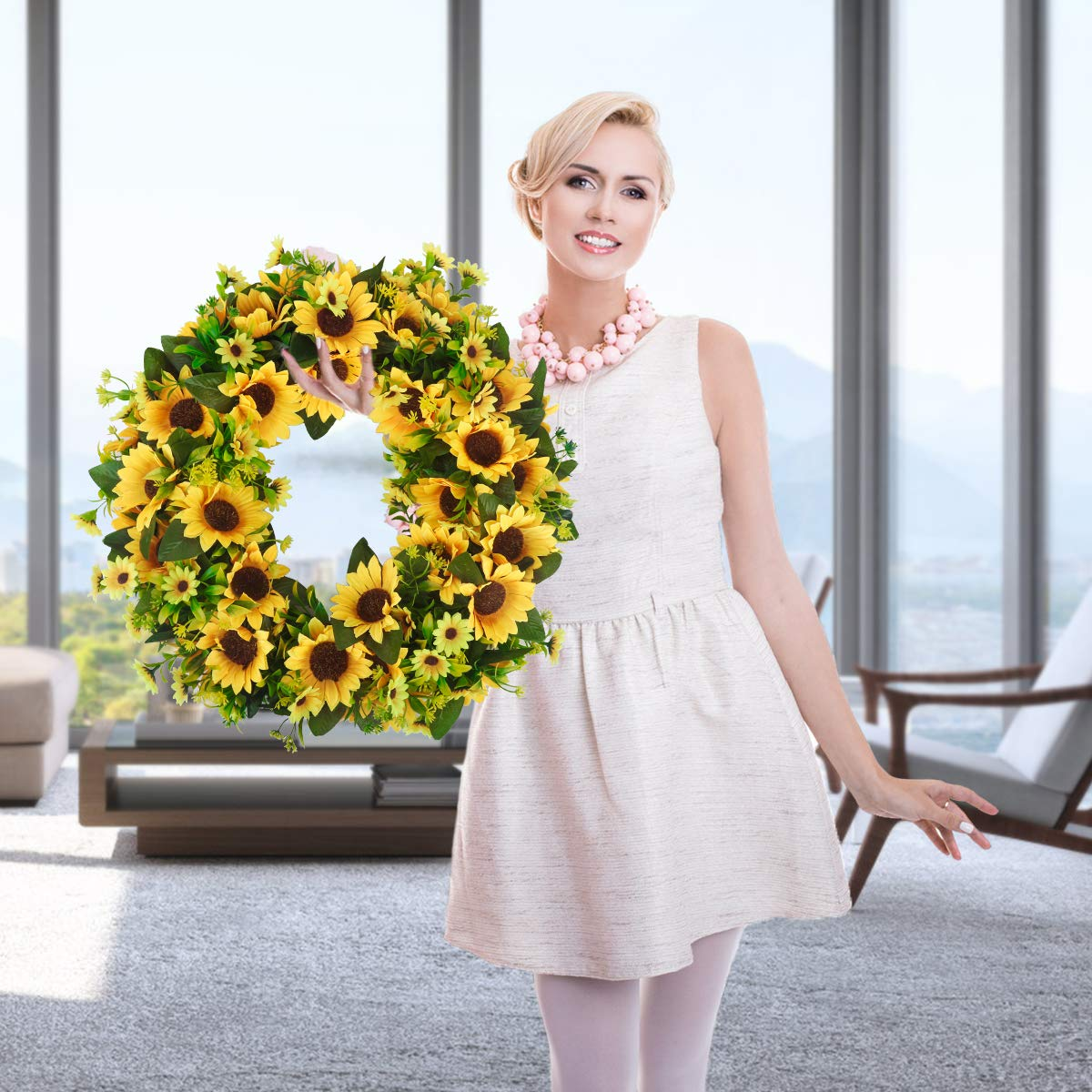 Bomarolan Artificial Sunflower Wreath 20 Inch Summer Fall Large Wreaths Springtime All Year Around Flower Green Leaves for Outdoor Front Door Indoor Wall Or Window D/écor
