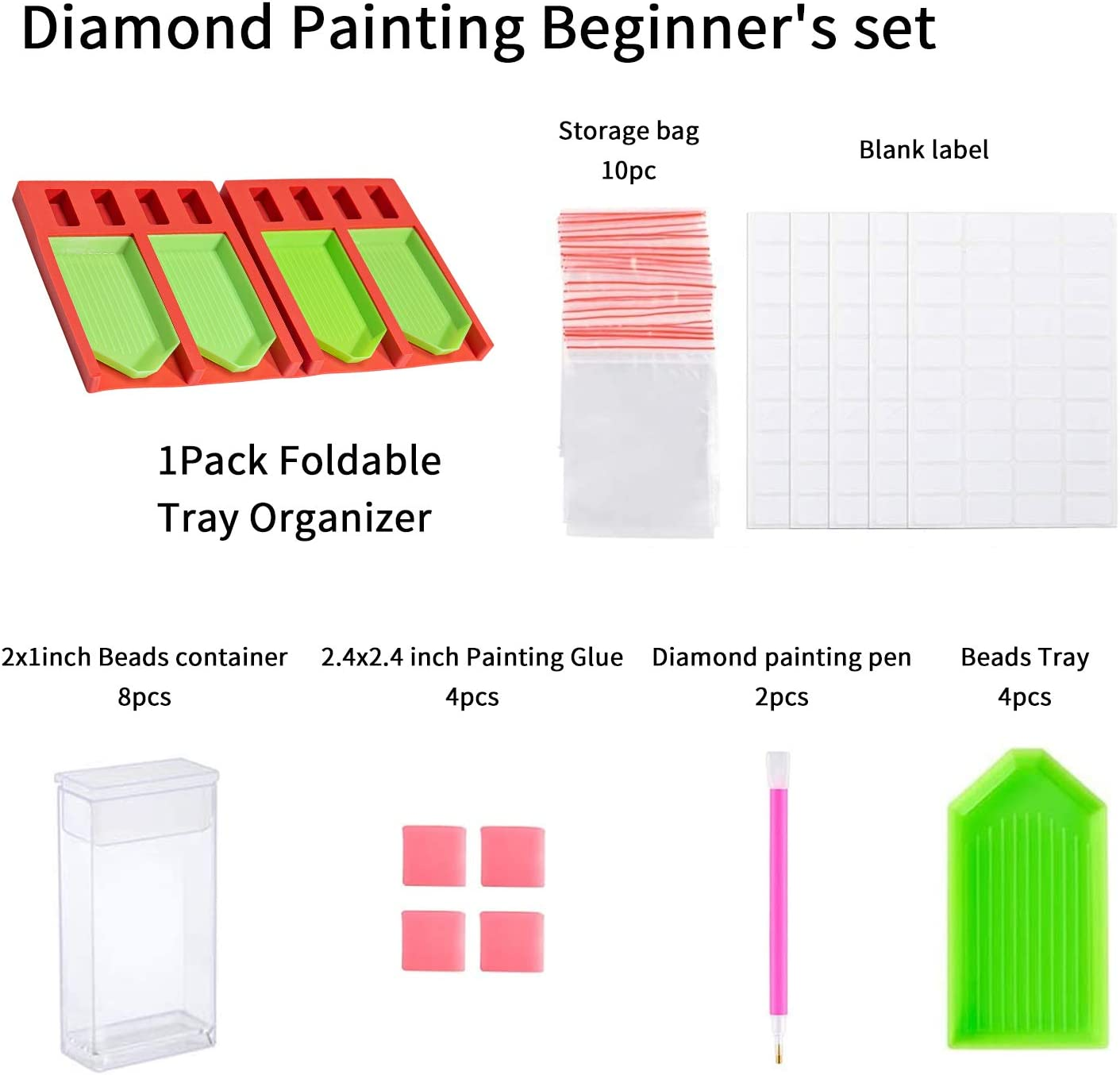 Diamond Painting Accessories and Tools Kits 2Pack Foldable Tray Organizer Diamond Art Accessories Kits for Adults Multi-Boat Holder for Tray Square Bead Storage Containers
