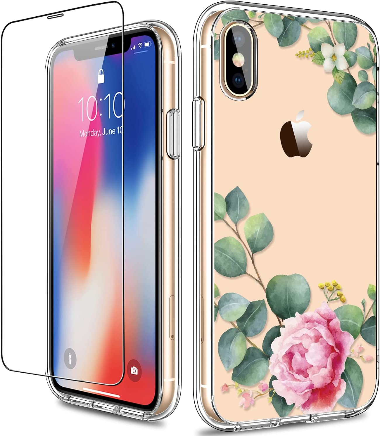 GiiKa for iPhone X Case, iPhone Xs Case, Clear Full Body Shockproof Protective Floral Girls Women Hard Case with TPU Bumper Cover Phone Case for iPhone Xs, Camellia