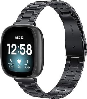 【Amazon限定ブランド】Wearlizer Fitbit Versa3 バンド/Fitbit Senseバンド Fitbit Versa3/Fitbit Senseに対応 Fitbit Versa3 ステンレスバンド ステンレス製 Fit...