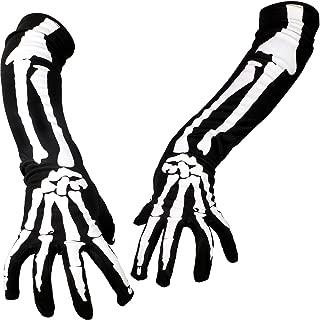 3 Paar Halloween Vollfinger Skelett Handschuhe Kostüm Zubehör für Halloween Party (Langes Skelett, Erwachsenengröße)