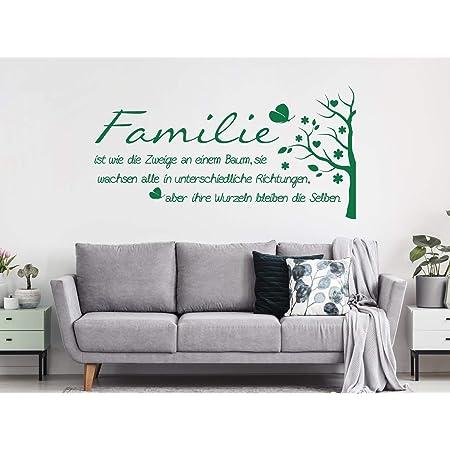 Grazdesign Wandtattoo Familie Mit Wandspruch Und Baum Wand Aufkleber Für Wohnzimmer Wand Sprüche 78x40cm 071 Grau Küche Haushalt