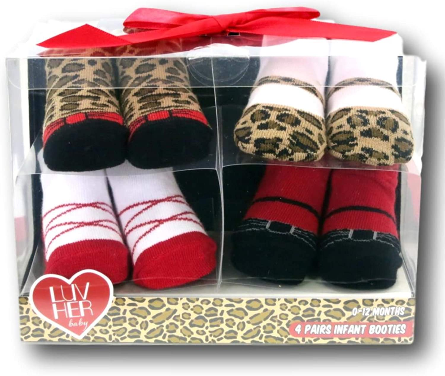 4 Pairs Infant Girls Leopard Animal Print Baby Booties - 0 to 12 Months