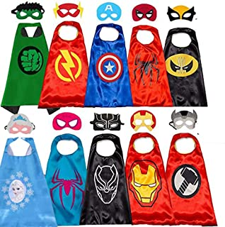 5 Sets Superhero Capes for Kids 2-Sided Dressing Up Costumes Capes Mask for Halloween Party Supplies