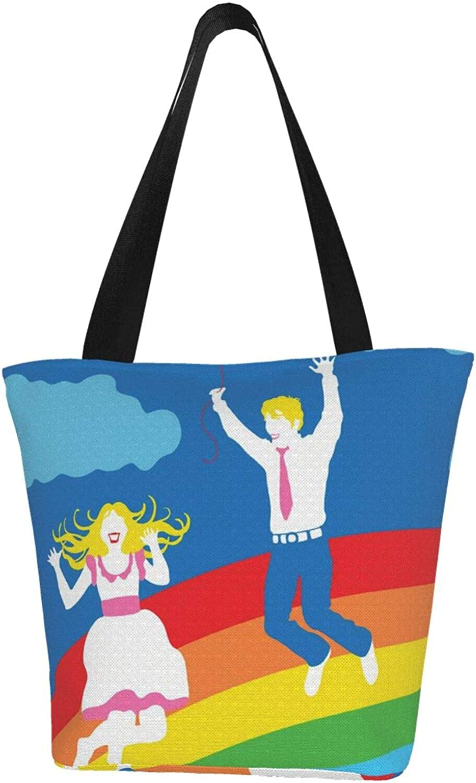 Couple Rainbow Gay Love Themed Printed Women Canvas Handbag Zipper Shoulder Bag Work Booksbag Tote Purse Leisure Hobo Bag For Shopping