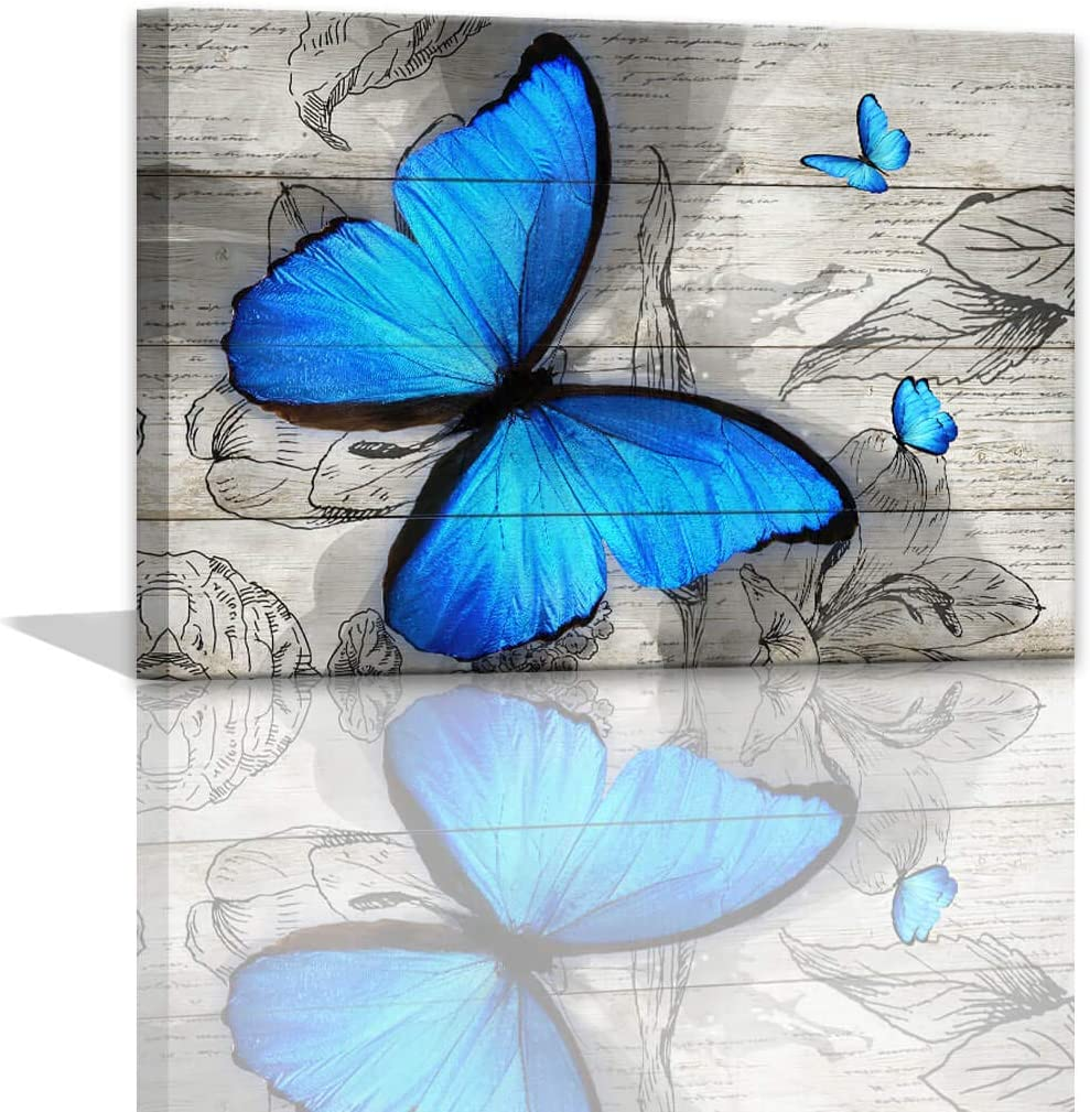 Butterfly Decor for Bathroom Blue Wall Art for Office Butterfly Room Decorations Art Paintings for Bedroom Blue Butterfly Prints Wooden Background Decorations for The Home Framed Wall Art 12x16inch