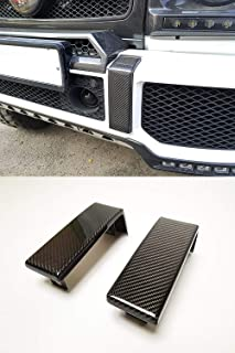 kit-car Brabus Style Carbon Fiber Front Bumper Trim Cover for G-Class W463 Mercedes-Benz G500 G550 G55 G63 G65 Vehicles - Set of 2 pcs