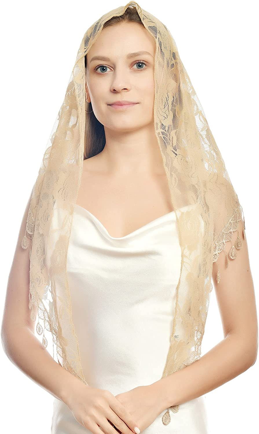 Lace veil Triangle Mantilla Cathedral Head Covering Chapel Veil Lace Shawl Latin Scarf