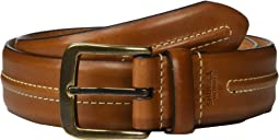 "1 1/2"" Double Center Stripe Belt Veggie Tan MS"