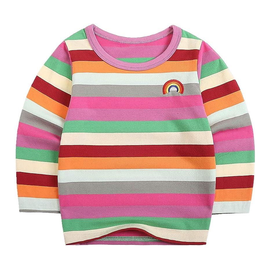 Sooxiwood Little Boys T-Shirt Rainbow Striped O-Neck
