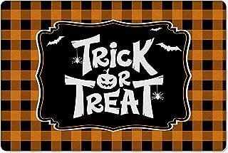 Meet 1998 Leather Doormat Trick or Treat Halloween Bat Non-Slip Rubber Floor Mats Orange Black Check Durable Outdoor Entra...