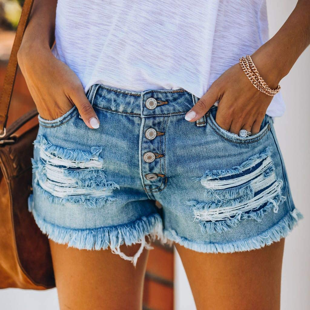 Denim Shorts for Women,Women's Summer Sexy Mid Rise Frayed Raw Hem Ripped Destroyed Denim Shorts Jeans