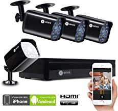 Anni 4CH Home Security Camera System,1080N HD AHD DVR and (4) 720P 1500TVL Weatherproof Outdoor CCTV Surveillance System with Night Vision,Motion Detection,Smartphone,Easy Remote Access,NO HDD
