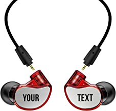 MEE audio M6 PRO 2nd Generation Universal-Fit Noise-Isolating Musicians' in-Ear Monitors with Custom-Engraved Text Metal Plates (Red)