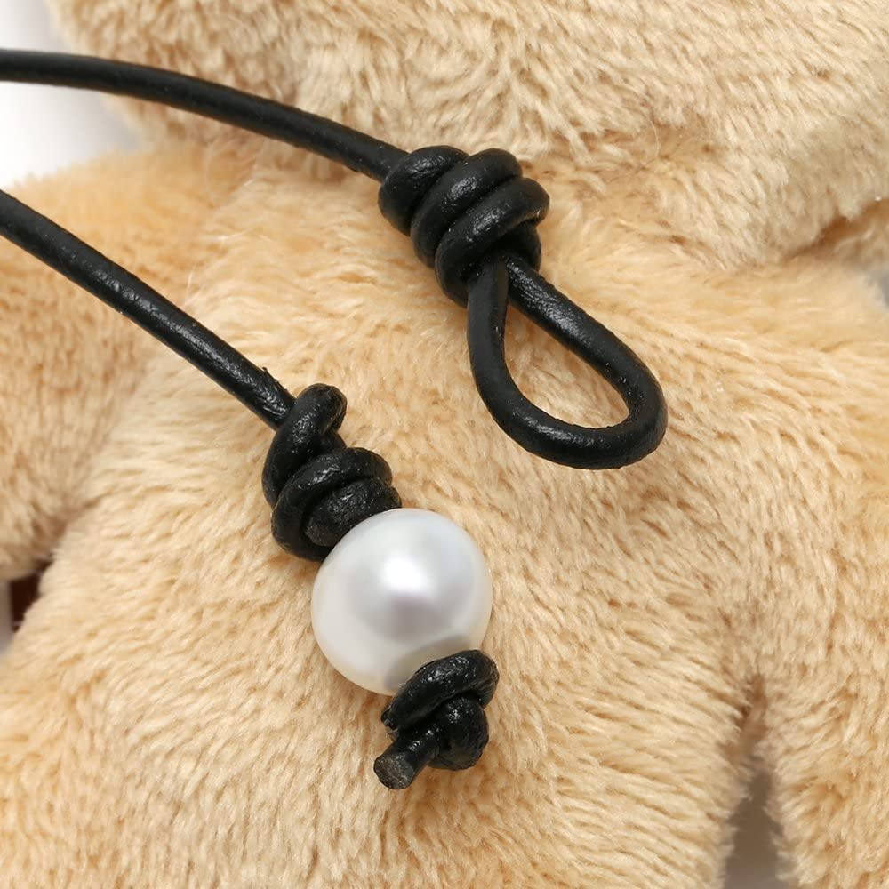 PearlyPearls Long Freshwater Cultured Pearl Necklace with Pendant on Leather Cord Y-Shaped Boho Necklace for Women…