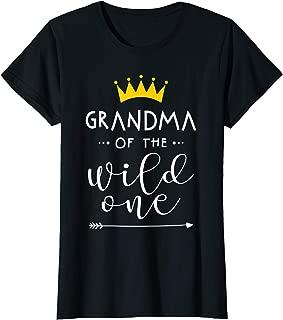 Womens Funny Family t shirt Grandma of the wild one matching