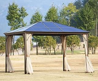 SUNCROWN Outdoor Patio Garden Gazebo 12 x 10 ft Beige Canopy Permanent PVC Hardtop Mosquito Netting, Front Porch, Sand
