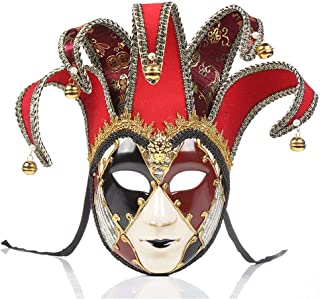 Full Face Venetian Jester Mask Masquerade Hand Painted Joker Wall Decorative Art Collection