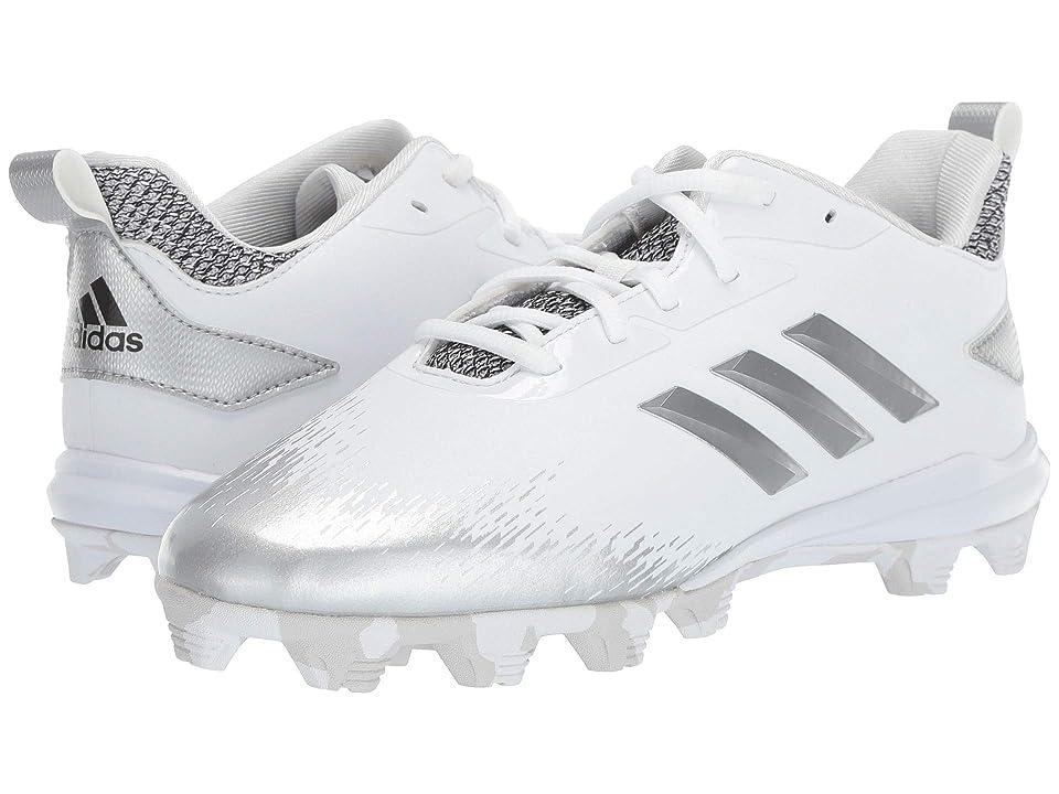 adidas Kids Afterburner V MD Baseball (Toddler/Little Kid/Big Kid) (White/Silver/Grey) Kids Shoes