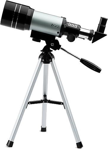 DQQ Teleskope Kinder Einsteiger Teleskop für Astronomie Refraktorteleskop mit Stativ Schwarz70mm,3X Barlow Objektiv