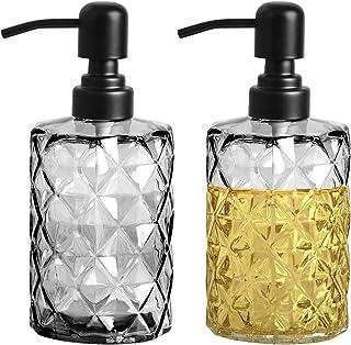 Dveda Lot de 2 distributeurs de savon en verre rechargeables avec pompe, liquide vaisselle, distributeur de savon pour les...