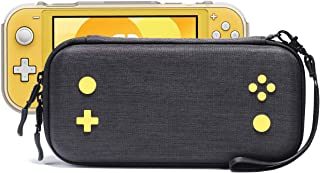 Rayvol Slim Case for Nintendo Switch Lite, Fits Console W/Protective Grip Case, 16 Game Cartridges, Portable Hard Shell Cover Carrying Bag Travel Pouch, Yellow Gaming Pattern Design, Color Black