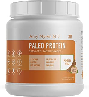 Seasonal Limited Edition Pumpkin Spice Pure Paleo Protein by Dr. Amy Myers – Clean Grass Fed, Pasture Raised Hormone Free Protein, Non-GMO, Gluten & Dairy Free – 21g Protein Per Serving